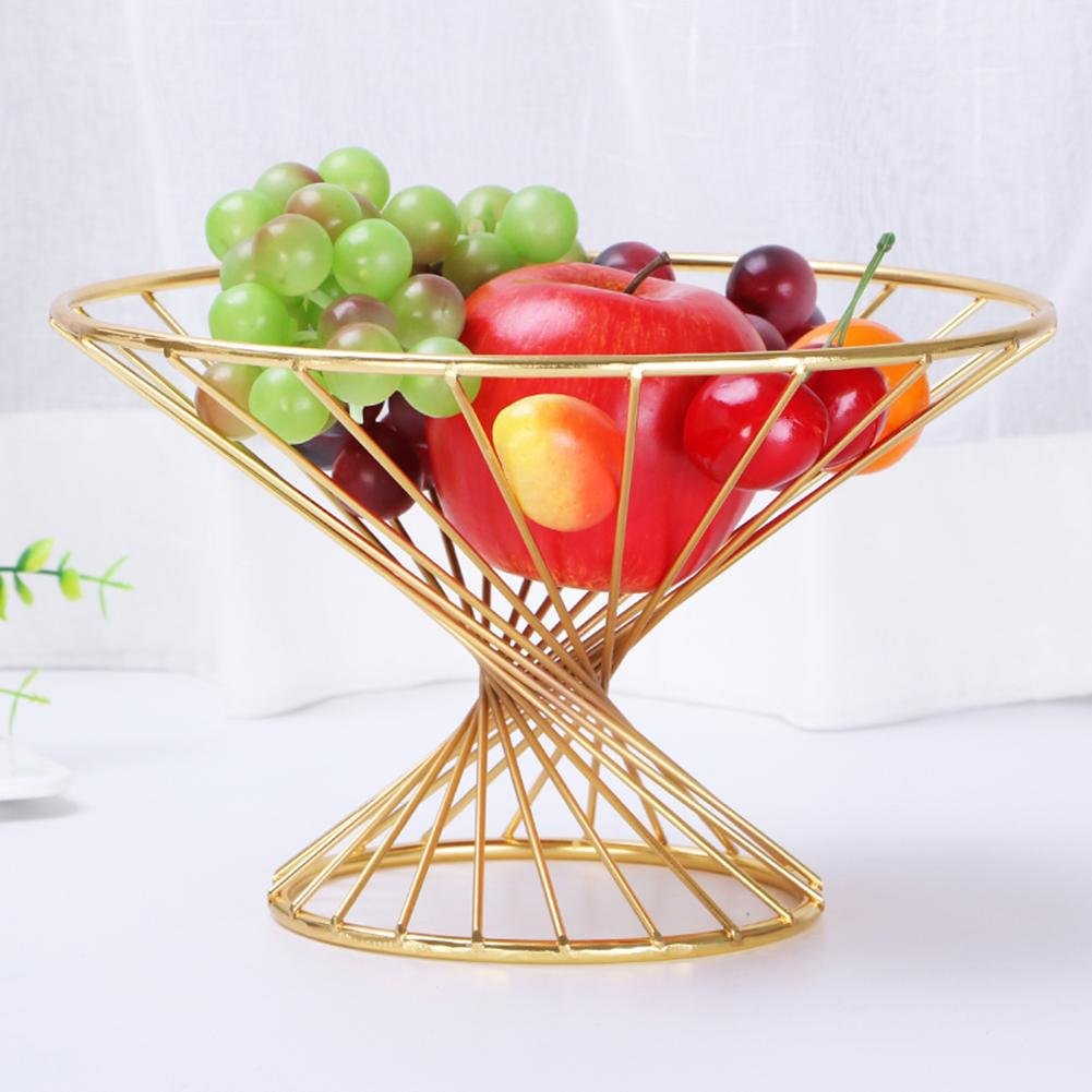 CanKun Round Wire Fruit Bowl Home Crafts Ornaments , gold CanKun Home