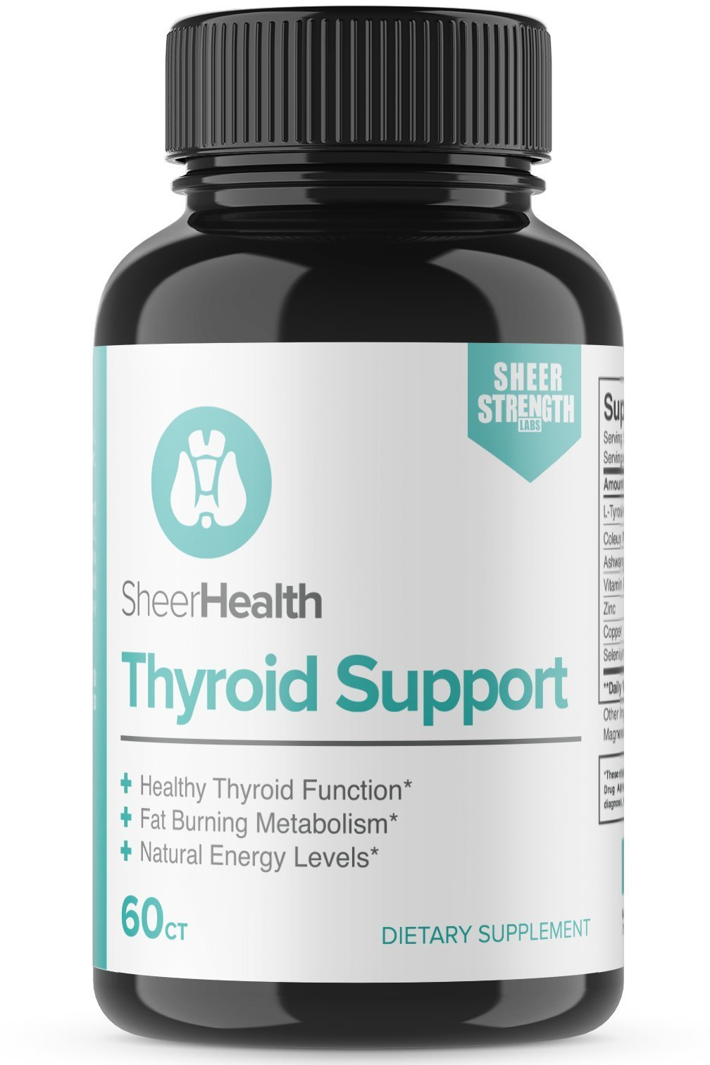 Sheer Natural Thyroid Support Supplement - Vitamin B12, Zinc, Copper, L-Tyrosine, Selenium, Ashwagandha, and More for Boosting Energy and Losing Weight, 30 Day Supply