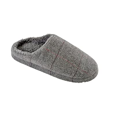 0108130b7 SlumberzzZ Mens Checked Upper and Faux Fur Insole Mule Slipper:  Amazon.co.uk: Shoes & Bags