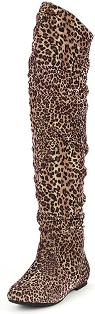 Nature Breeze Vickie Hi Knee high Boots,Vickie-Hi6.0 Leopard Suede 6.5