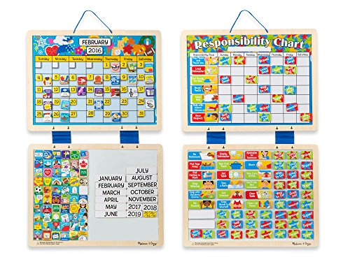 Melissa & Doug Kids' Magnetic Calendar and Responsibility Chart Set With 120+ Magnets to Track Schedules, Tasks, and - Learning Calendar Magnetic