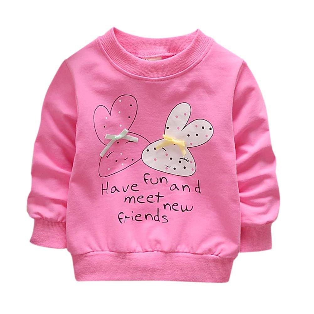 Qlan nouveau-né infantile bébé filles à manches longues pull Sweat Cartoon Tops col rond veste (0-3 ans)