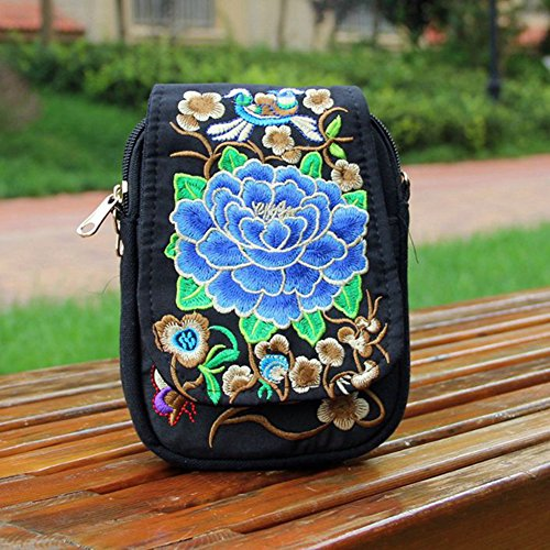 Pouch Embroidered Style Crossbody Shoulder Phone Small Profusion Bag Bag Circle Cross Bag Ethnic Body Womens Blue Flower TxUBUqPAw