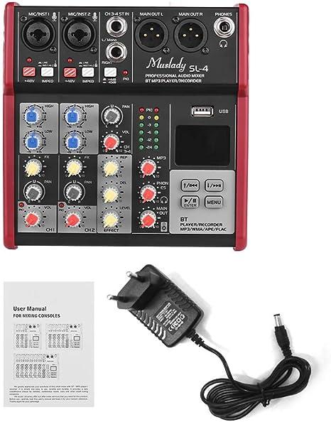 Muslady SL-4 Mezclador de Consola de Mezcla de 4 Canales de Tamaño ...
