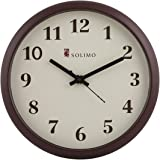 Amazon Brand - Solimo 11-inch Wall Clock (Step Movement, Brown Frame)
