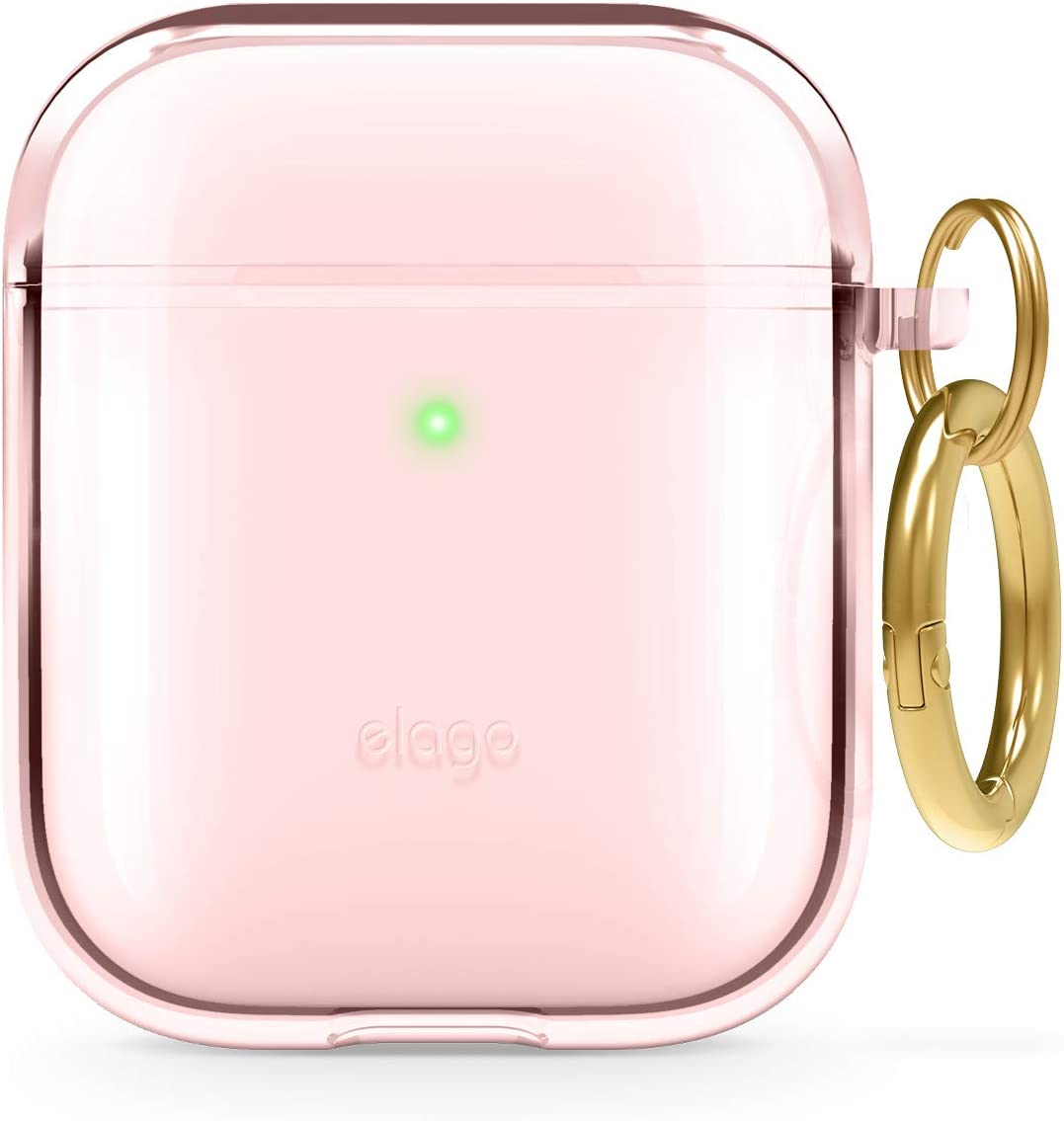 elago Clear Airpods Case with Keychain Designed for Apple Airpods 1 & 2 (Lovely Pink)
