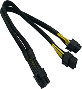 COMeap CPU 8 Pin Male to Dual 8 Pin(6+2) Male PCIe Power Adapter Cable for Dell PowerEdge R720 720XD R730 and NVIDIA Tesla GPU J30DG 15-inch(38cm)