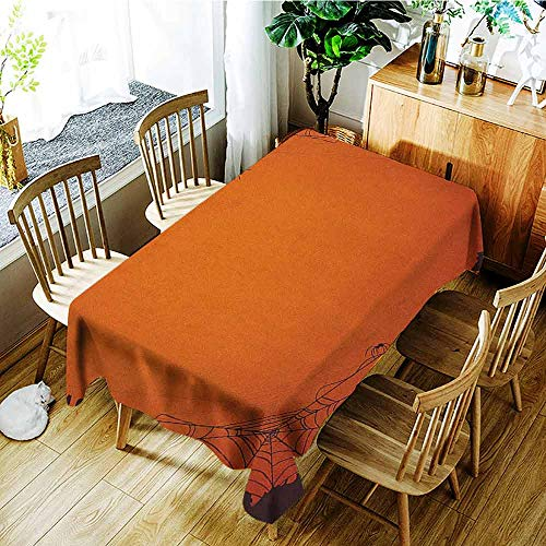 XXANS Fashions Rectangular Table Cloth,Spider Web,Grunge Halloween Composition Scary Framework with Insects Abstract Cobweb,Modern Minimalist,W60x120L Orange Brown -