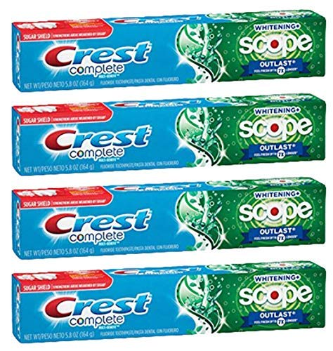 Crest Complete Multi Benefit Whitening Toothpaste with Scope Outlast Fresh Breath, Mint 5.8 Ounce (Pack of 4)
