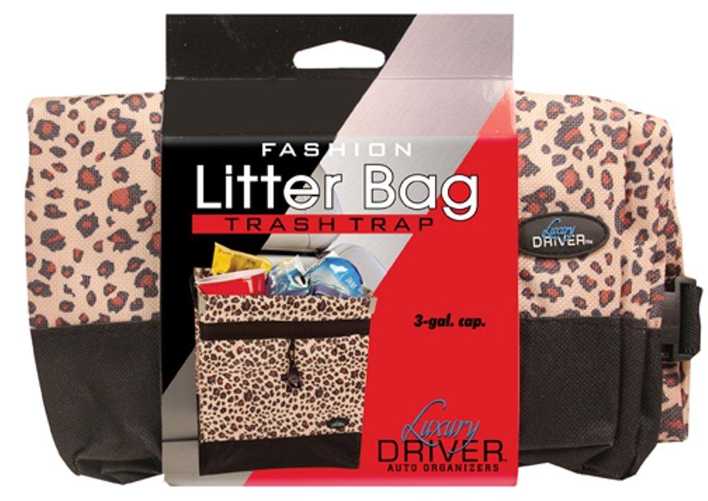Luxury Driver 12484 Leopard Fashion Floor Litter Bag Trash Trap Organizer Impulse Merchandisers
