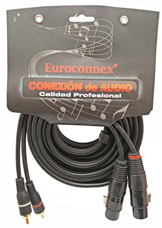 Euroconnex - Cable Audio 2 RCA Macho a 2 XLR Hembra, cable de 6mm,