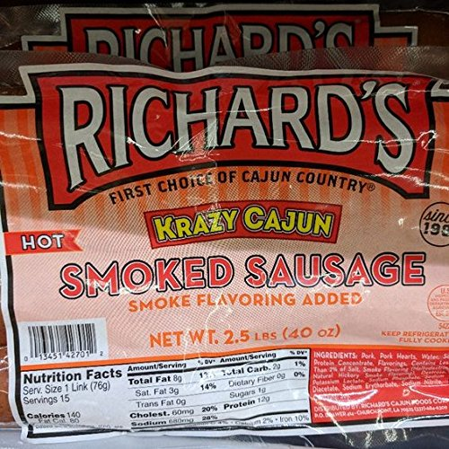 Richard's Krazy Cajun Hot Smoked Sausage 40 Oz (2 ()