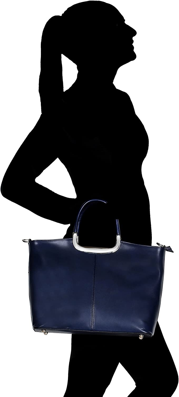 Chicca Borse Borsa a Mano da Donna con Tracolla in Vera Pelle Made in Italy 36x27x12 Cm Blu