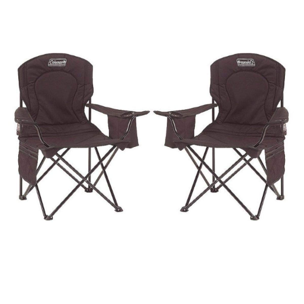 Coleman Oversized Quad Chair with Cooler Pouch (Black/Set of 2)