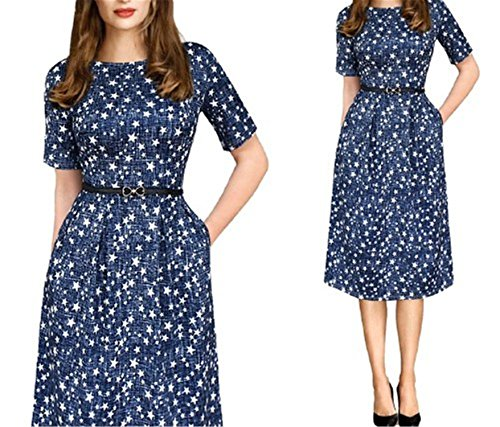 Angelia Daugh Womens Summer Polka Dot Belted Tunic Pinup Wear To Work Office Casual Party A Line Skater Dress Blue XXXL