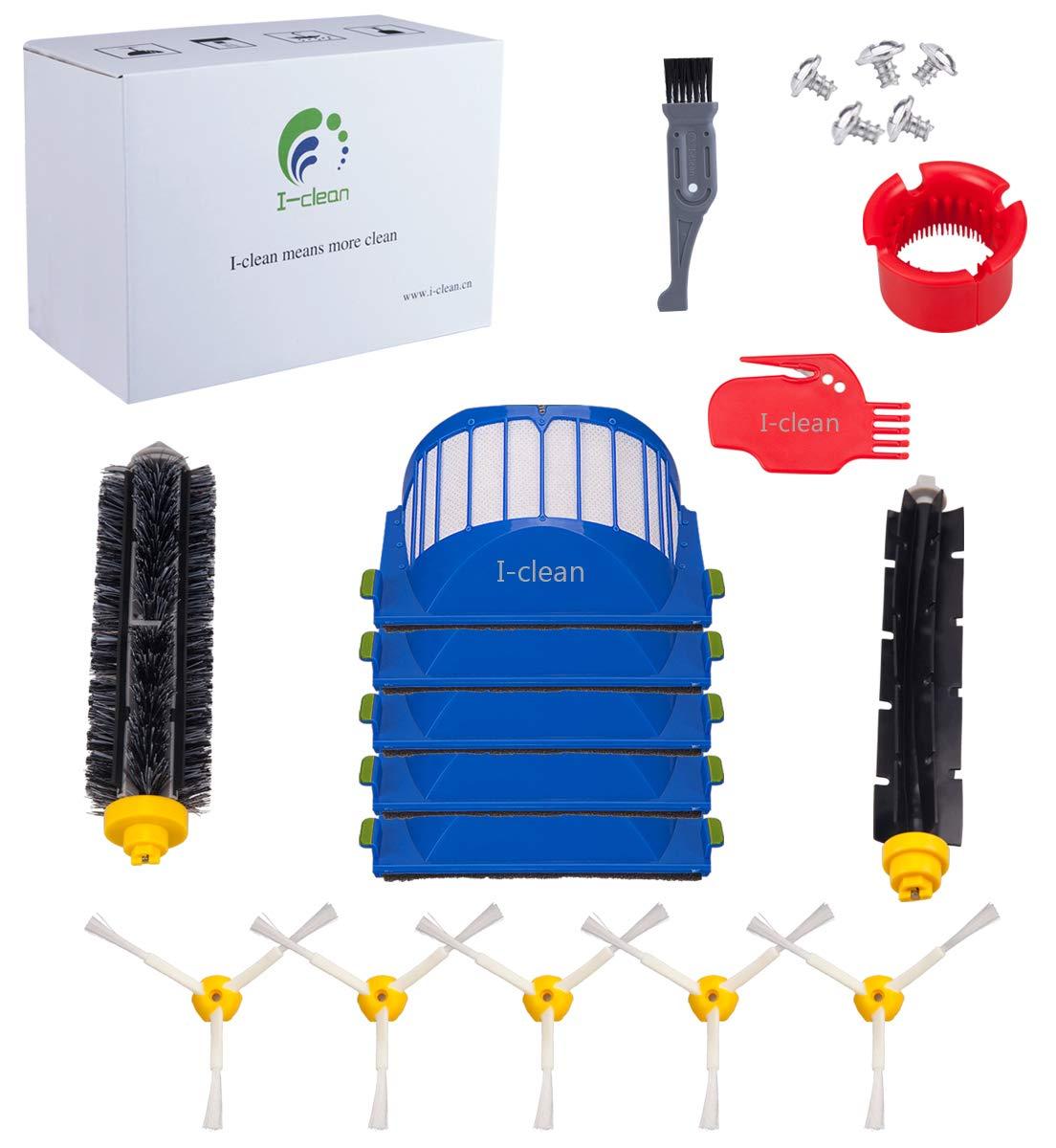 I-clean14pcs Replenishment iRobot Roomba 690 595 614 620 630 650 652 660 680 (600 Series) Parts,Replacement Mega Brushes Kit Bristle & Flexible Beater Brushes& 3-Armed Brushes & Aero Vac Filters