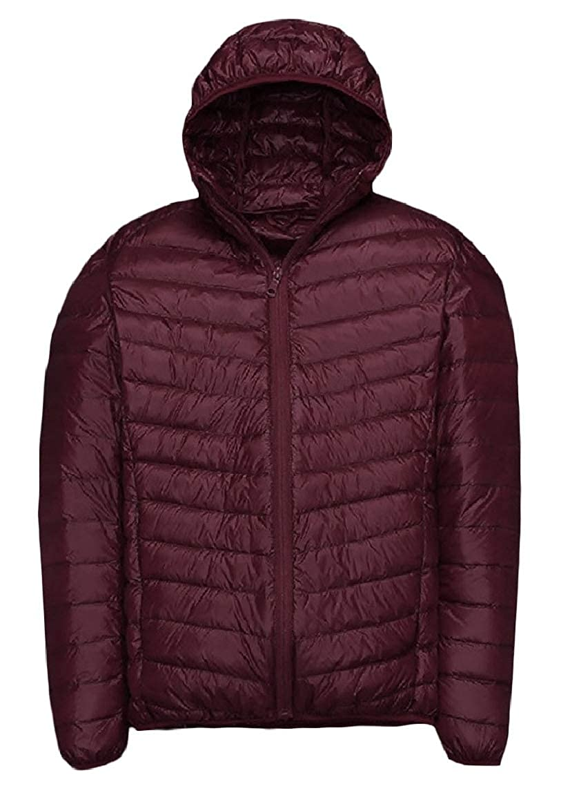 RingBong Mens Stylish Plus-Size Ultra Light Weight Full-Zip Solid Down Jacket