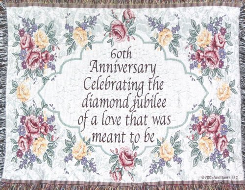 Jubilee Celebrations 60th Wedding Anniversary Sofa Throw - 60th for Grandparents ()