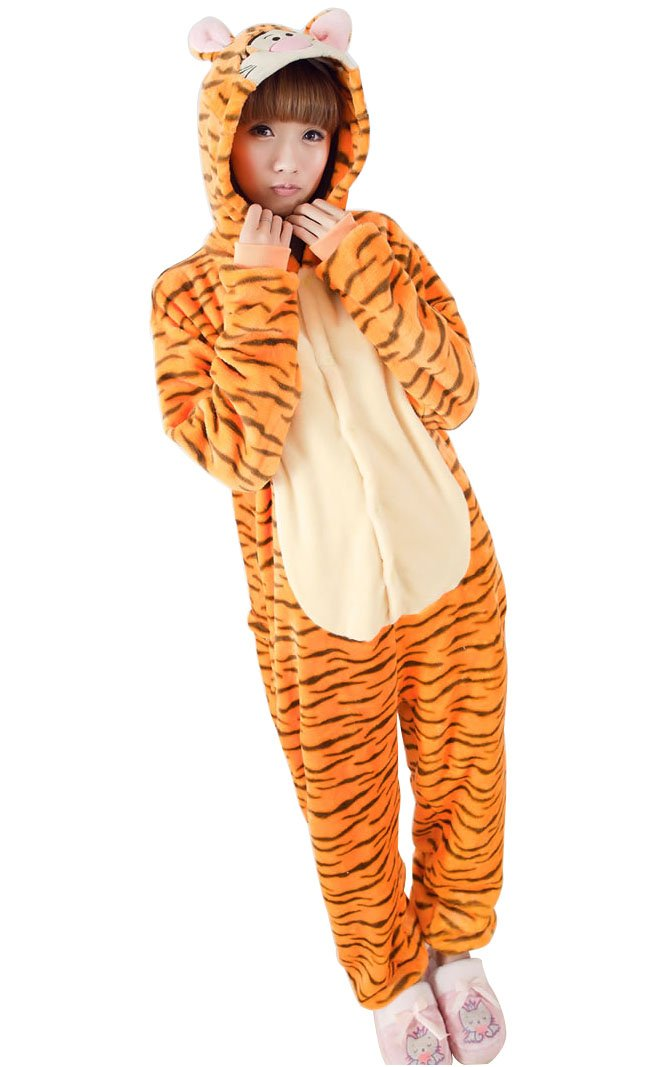 Bysun Adult Long-Sleeved Flannel Homewear Tiger Striped Pajamas Cosplay