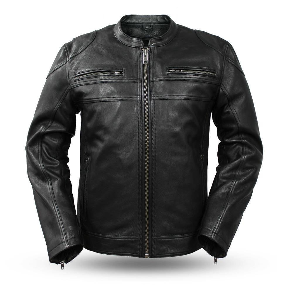 First Manufacturing Mens Motorcycle Riding Ultra Premium Thick Cow Hide Leather Jacket Kidney pading (3XL Regular)