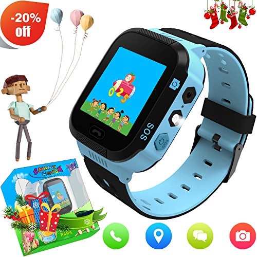 Kids Smartwatch with GPS Tracker Phone Remote Monitor Camera Touch Screen One Game Anti Lost Alarm Clock App Control Easter Gifts for Children Boys Girls Compatible with Android iPhone (02 G3E Blue)