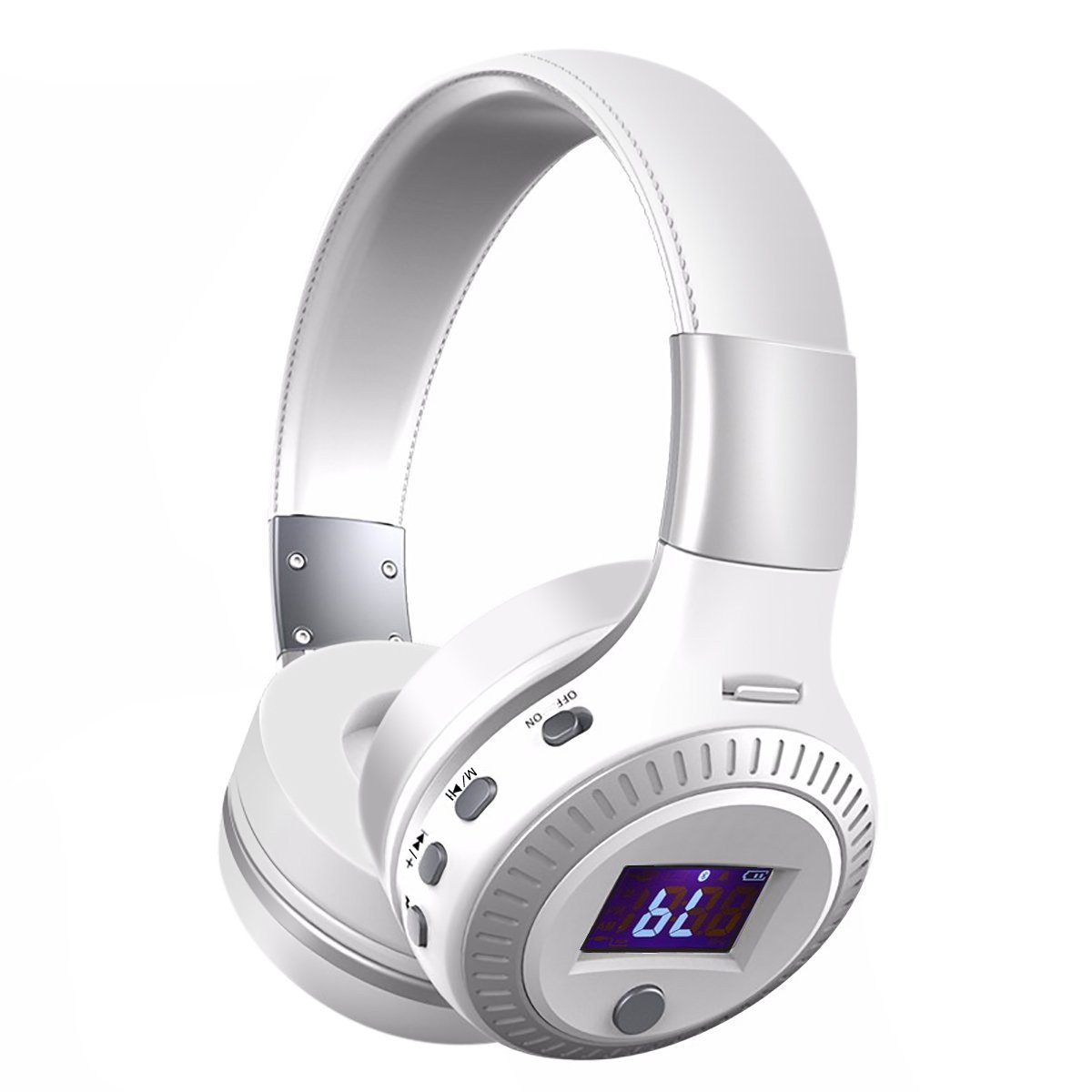 Over-ear Headphones, YESSHOW Wireless Bluetooth Earphones with Mic HiFi Stereo Foldable Adjustable Headset Noise Cancelling for Laptop Computer Tablet PC & Other iPhone Android Smartphones [White]