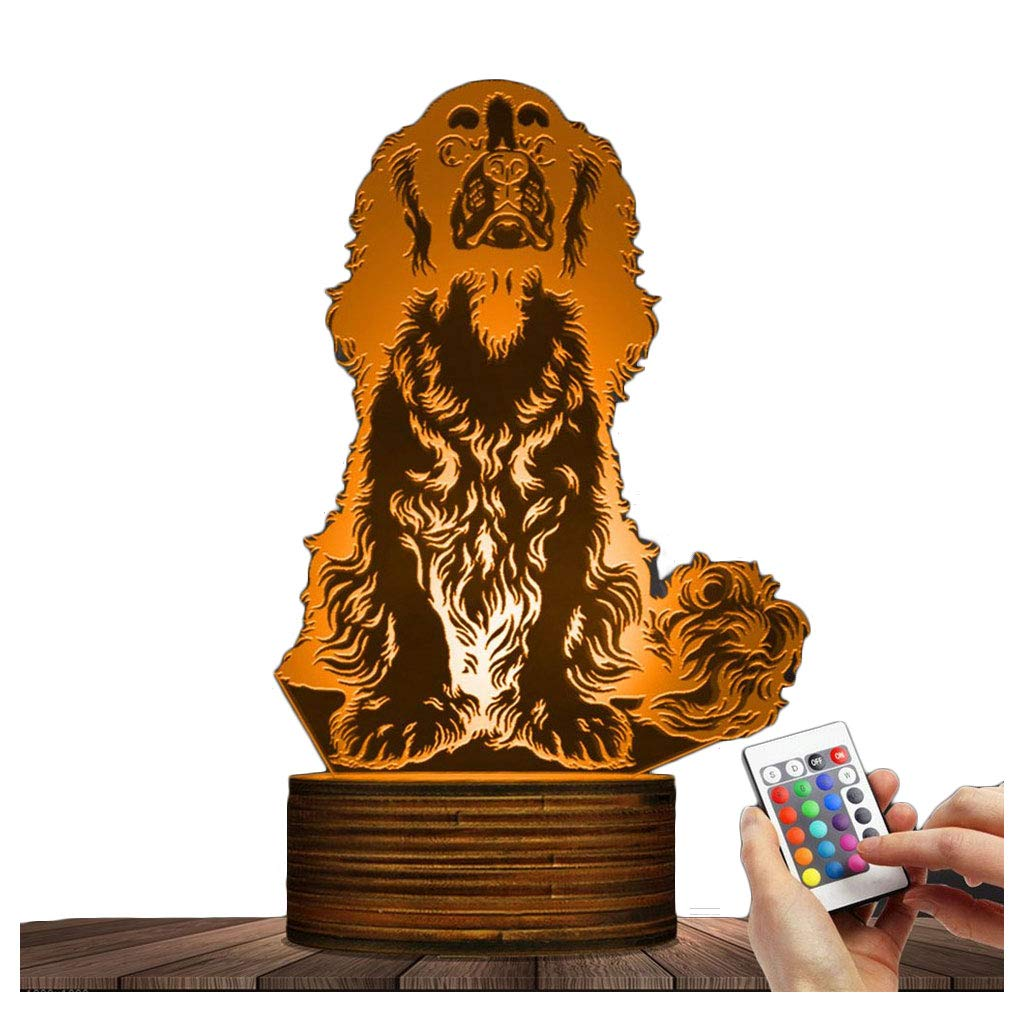 Novelty Lamp, Spaniel Dogs Night Light 3D LED Lamp Optical Illusion 15 Kinds of Discoloration, USB Powered Remote Control Changes the Color of the Light, an Ideal Gift for Children's Friends and Famil