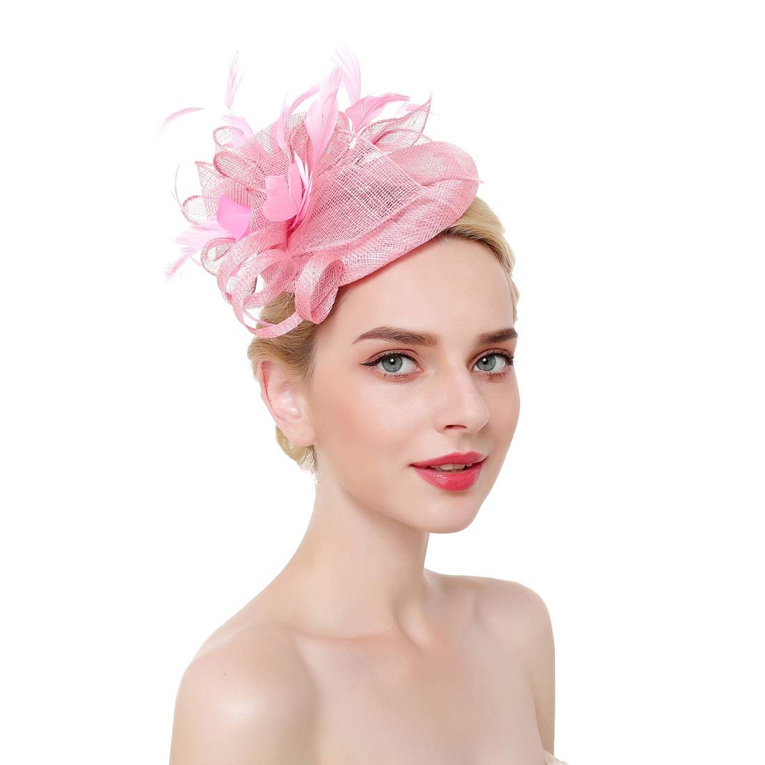 Womens Fascinator Kentucky Derby Hats Sinamay Feather Headpiece for Wedding Cocktail Tea Party
