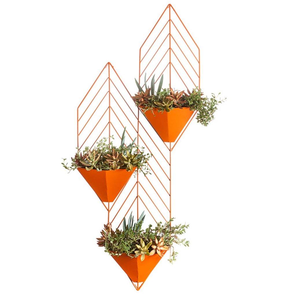 現代のシンプルな創造性の植物の棚の鉄の壁は、鉢植えの乾燥花のバスケットフラワーラック (色 : オレンジ) B07D98TSH9 オレンジ オレンジ
