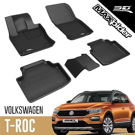 Elmasline Design 3D Gummimatten Set f/ür VW T-ROC Baujahr ab 2018 Extra hoher 5cm Rand