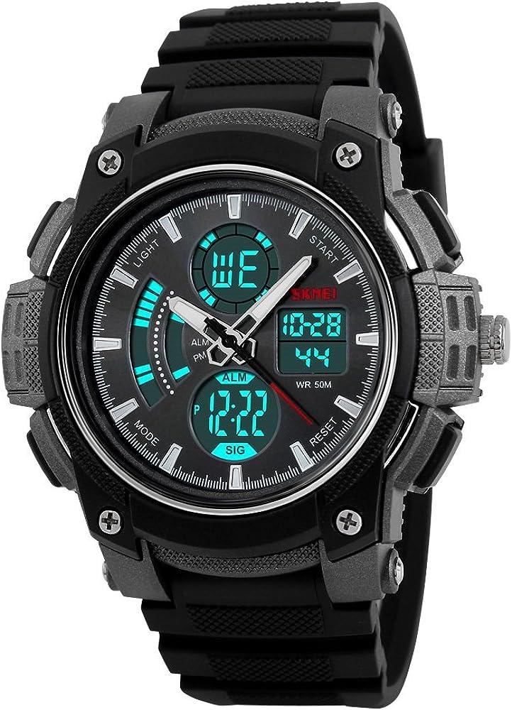 farsler hombre multifuncional 50m impermeable doble tiempo pantalla el luz electrónica reloj deportes al aire libre hombres y mujeres estudiantes digital para natación y buceo Wirst reloj (negro)