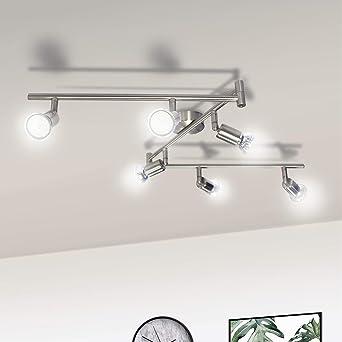 Lámpara de Techo LED 6 Focos, Wowatt Plafón con Focos Giratorios ...