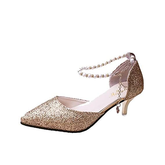 42a967aea7 Amazon.com: Women's SHOES,Ladies Thin Heels Shoes Sequins String ...