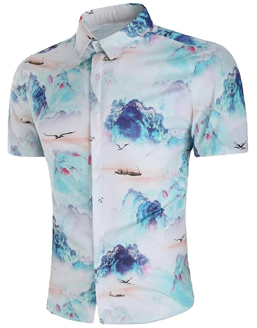 Pcutrone Men Floral Print Basic Lapel Neck Ethnic Style Curved Hem Button Down Shirts