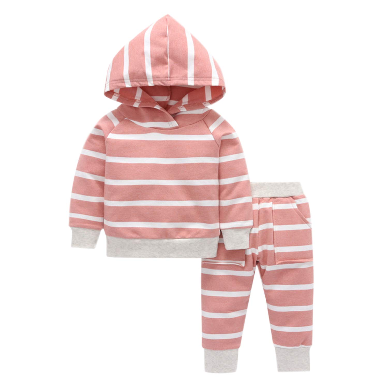 Newborn Baby Boys Girls 2Piece Hooded Top & Joggers Outfit Lovely Sweatshirt and Striped Pants Trousers Clothing Set