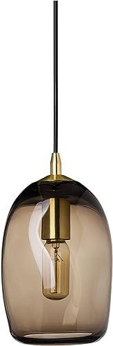 Casamotion Pendant Lighting Handblown Glass Drop ceiling lights, Organic Contemporary Style Hanging Light, Brown Glass Shade, Brushed Brass Finish, 1 Light