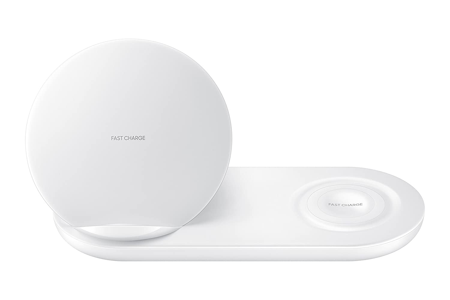Samsung Wireless Charger Duo, Fast Charge Stand & Pad, Universally Compatible with Qi Enabled Phones and Select Samsung Watches (US Version), White