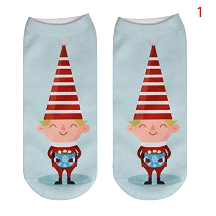 DHmart New Summer Women 3D Funny Painting Socks Unisex Cartoon Snowman Santa Socks Men Low Cut