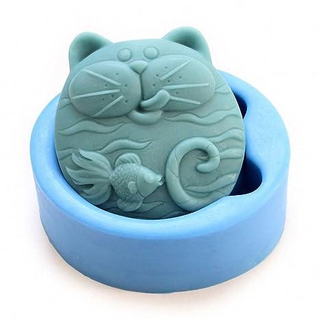 Molde para jabón de gato y pez dorado MoldFun con diseño de gato y peces, ...