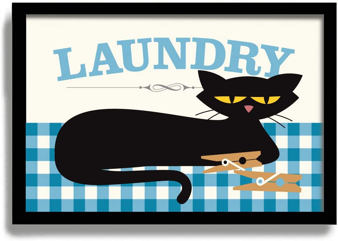 Arvier Black Cat Art Print Cat Lover Gift Idea Laundry Room Decor Laundry Sign Cat Home Decor Clothespins DexMex Art Print Laundry Art Framed Wall Art