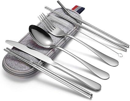 Utensilios portátiles, juego de cubiertos de camping de viaje, 8 piezas, incluye cuchillo, tenedor, cuchara, palillos, cepillo de limpieza, estuche ...