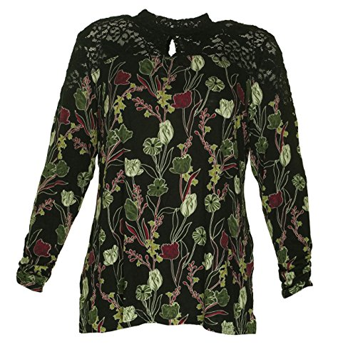 Style & Co. Womens Plus Floral Print Lace Trim Casual Top Multi 1X Style & Co . Floral Blouse