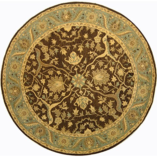 Collection AT14F Handmade Traditional Oriental Brown and Green Wool Round Area Rug (3'6
