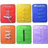 Montessori aprender a vestir las tablas de aprendizaje temprano habilidades básicas de la vida juguetes-zip, Snap, botón, hebilla, encaje y corbata 6 PCS/SET
