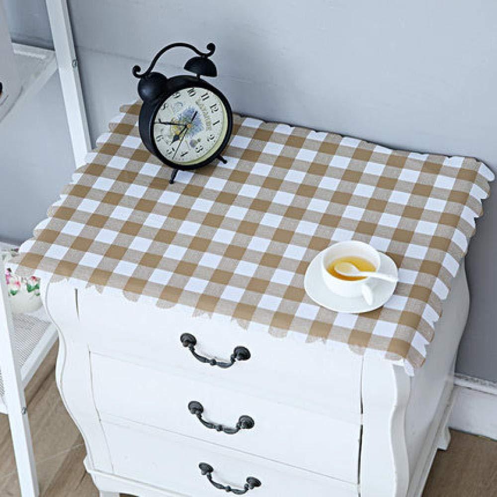 WJJYTX tischdecke Plastik, Nachttischdecke Abwischbare Vinyl-Tischdecke Stilvolles Muster Wasserdicht Kleines Quadrat Gelb @ 50 * 60