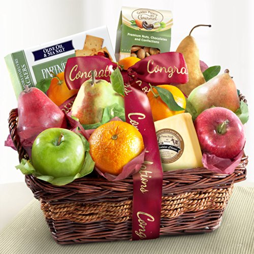 Golden State Fruit Congratulations Fruit Basket with Cheese and Nuts