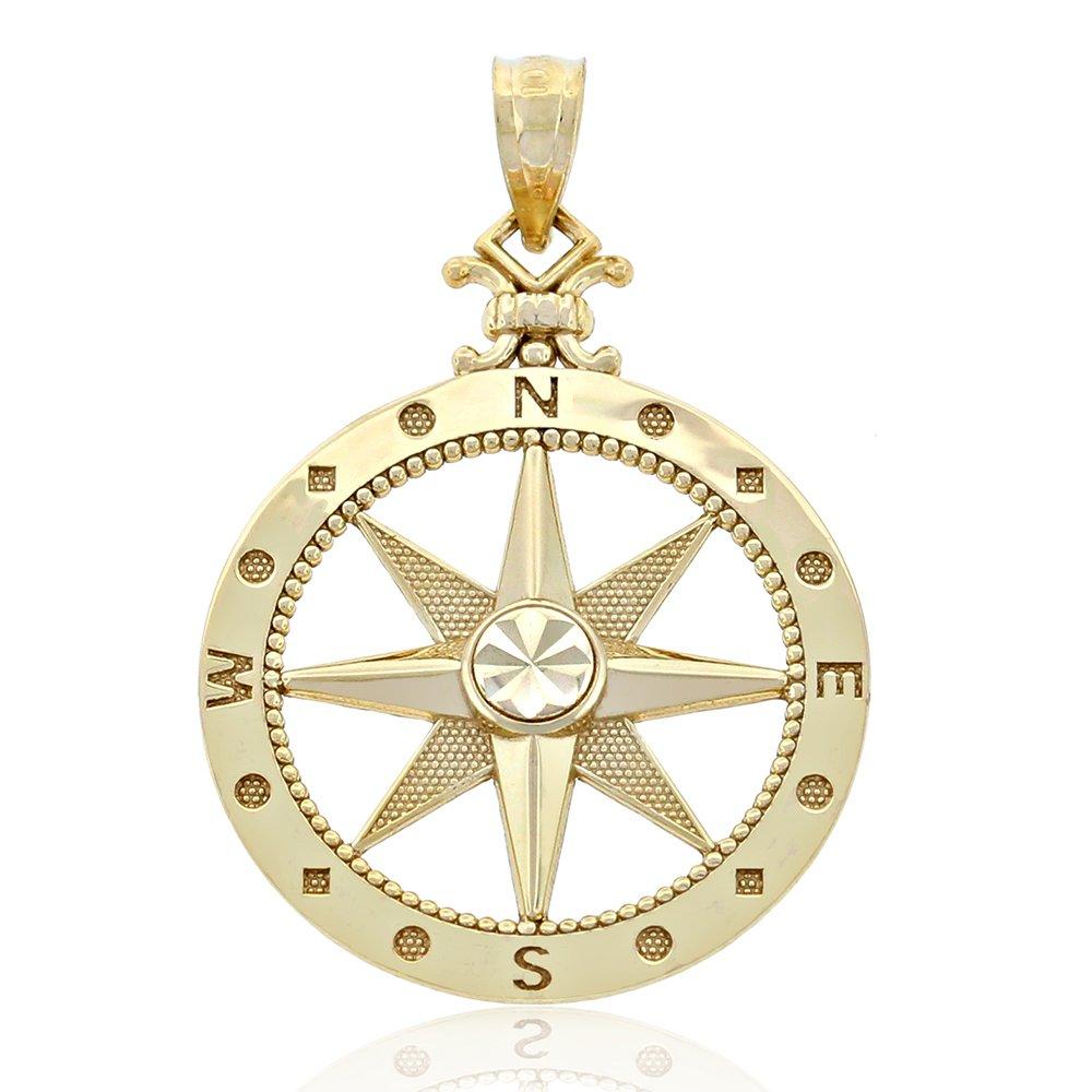 10k Solid Gold Compass Pendant, Navigation Nautical Graduation Gift