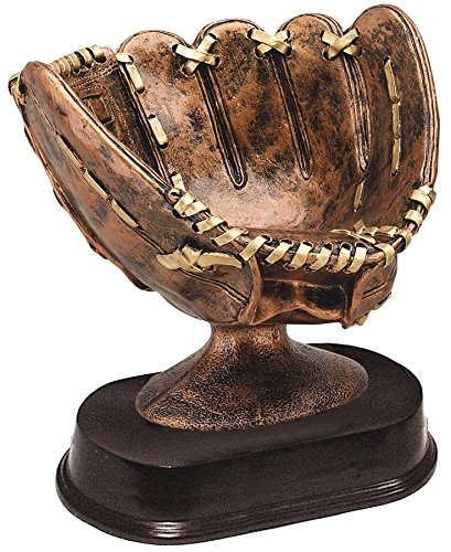 Decade Awards Bronze Colored Softball Glove Ball Holder with Brown Finish Resin Base - Colored Finish