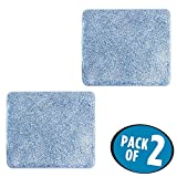 mDesign Soft Microfiber Polyester Non-Slip Small Rectangular Spa Mat, Plush Water Absorbent Accent Rug for Bathroom Vanity, Bathtub/Shower, Machine Washable - 21'' x 17'' - Pack of 2, Heathered Blue