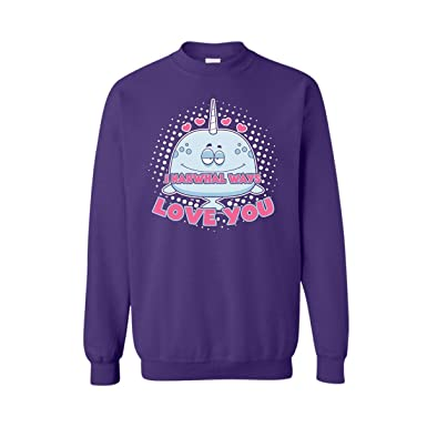 38247461 I Narwhal Ways Love You Crewneck Sweatshirt Gift for Family (S, Purple)